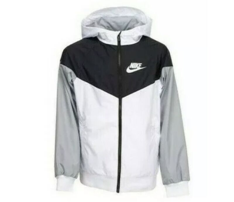 New Nike Sportswear Big Boys Wind Runner Jacket White Black Grey - Size Large