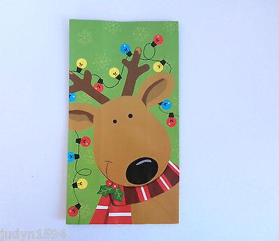 PACK OF 4 PAPER CHRISTMAS TREAT BAGS FAVOR GIFT SWEETS REINDEER WITH LIGHTS BAG  - Paper Bag Reindeer