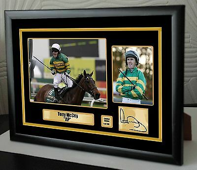 "AP McCoy Limited Edition Framed Canvas Tribute Print Signed ""Great Gift"""