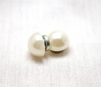 UNISEX 10 MM. WHITE PEARL HEALING HEMATITE MAGNETIC STUD EARRINGS: For Pain!