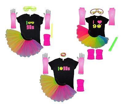 I Love 90s Neon Fancy Dress Rainbow Tutu Set T-Shirt Glow Sticks Flo Hen Party](Rainbow Glow Sticks)