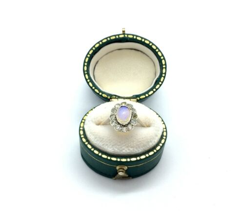 Antique Art Deco 9ct Gold & Silver Clear and Jelly Opal Paste Cluster Ring Size