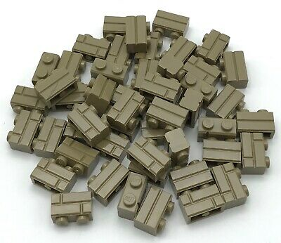 Lego 50 New Dark Tan Bricks Modified 1 x 2 with Masonry Profile Bricks Profile