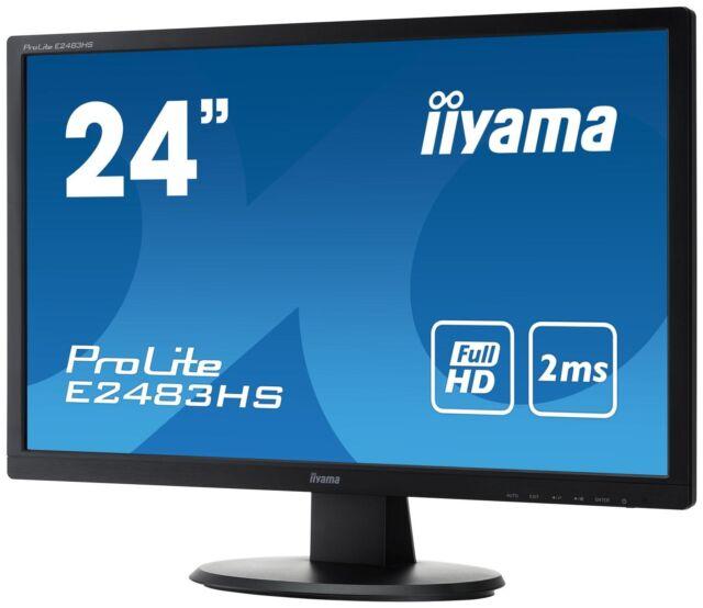 Iiyama Prolite E2483HS-B1 24 inch LED Monitor - Full HD, 2ms, Speakers, HDMI