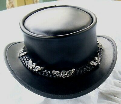 AUSTRALIAN HAND MADE BLACK LEATHER STEAMPUNK RETRO STYLE COACHMAN HAT W. SKULLS
