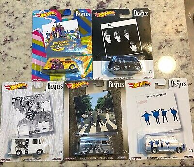 5 Hot Wheels The Beatles 2019 Pop Culture Cars Complete Set New