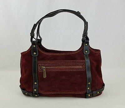 Maxx New York Burgundy Suede Leather Handbag Shoulder Bag Purse / Double Handle ()