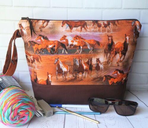 Handmade Zipper Bag Knit Crochet Projects Travel Makeup Storage Wild Horses Gift