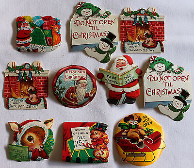 Lot Of 10 do Not Open Vintage Christmas Gummed Seals Stickers Deer Santa Dog