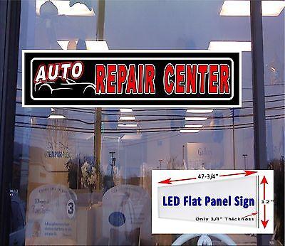 Auto Repair Center Led Illuminated Window Sign 48x12 Flat Panel Led Design