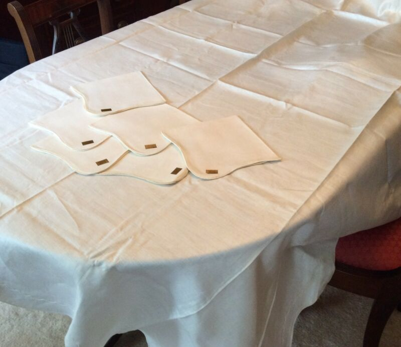 TABLECLOTH 88 x 70 ECRU  Needlecraft LINEN + 6 NAPKINS Scallop Edge PARAGON TAGS
