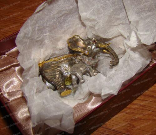 Enameled Pewter ELEPHANT Box (3618) Mother & Baby, Australian Crystals