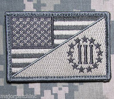THREE PERCENTER USA AMERICAN FLAG US ARMY MORALE TACTICAL ACU LIGHT VELCRO PATCH