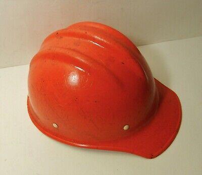 Vintage Orange Fiberglass Hard Boiled Bullard 502 Hard Hat Ironworker