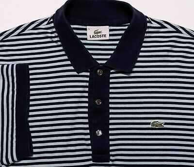 LACOSTE Short Sleeve Polo Shirt Blue Striped Size 5 Medium M Fit