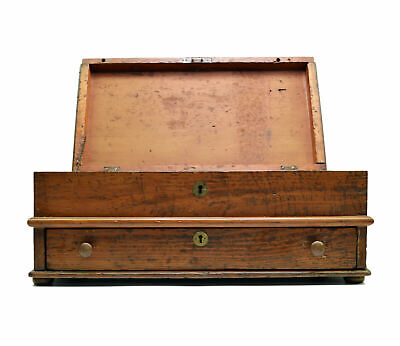 Antique Primitive Pine Wood Lift Top Table Chest Drawer Lock Box Signed 19th C.