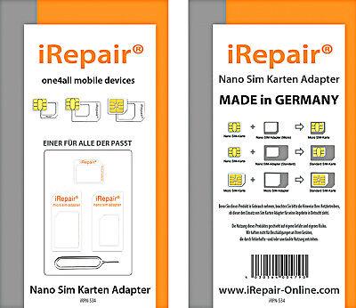 NANO SIM KARTEN ADAPTER SET Made in Germany MICRO SIM STANDARD ...PASST FÜR ALLE