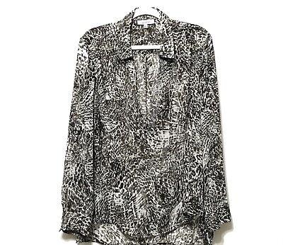 Jennifer Lopez J Lo Sheer Leopard Print Women S Shirt Xl Long Sleeve Blouse Top