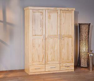 Armoire penderie dressing rangement chambre vintage porte tiroir bois pin mas - Armoire dressing bois massif ...