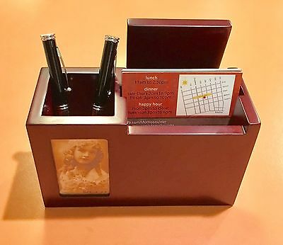 New Red Wooden Desk Organizer Caddy Business Card Holder Pen Picture Frame