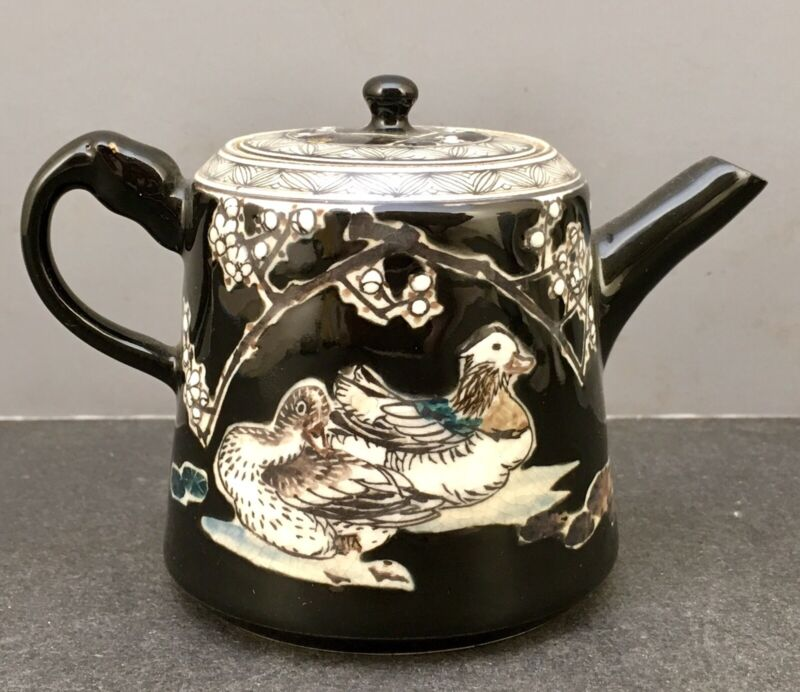 Japanese Meiji Satsuma Style Black Teapot with Ducks by Tanzan