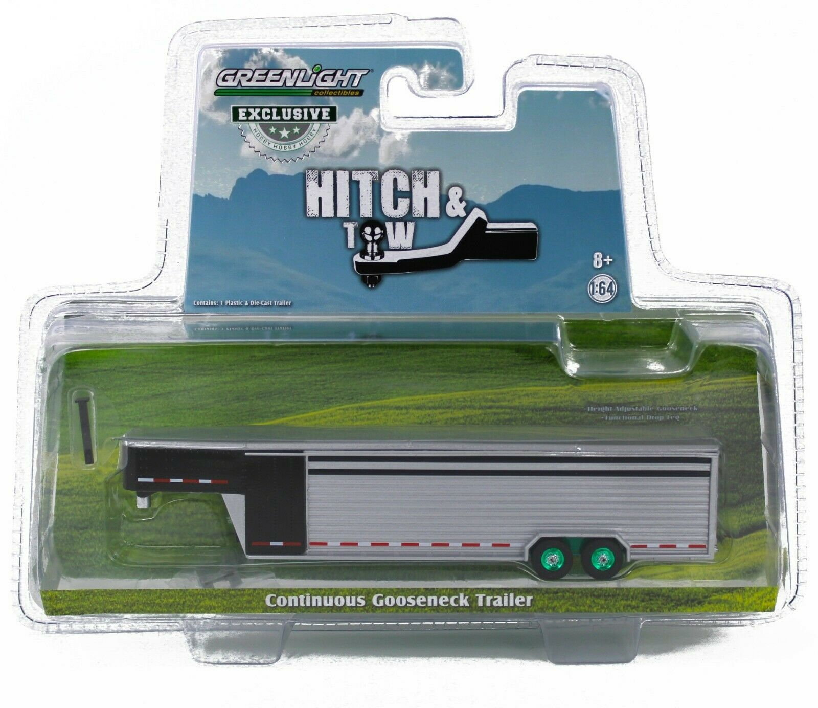 1:64 GreenLight BLACK & ALUMINUM* Solid Row Side LIVESTOCK TRAILER GREEN MACHINE