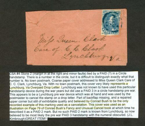 """CSA #4 Lynchburg VA Overpaid Drop w/ circle """"PAID 1"""" made out of Prewar """"PAID 3"""""""