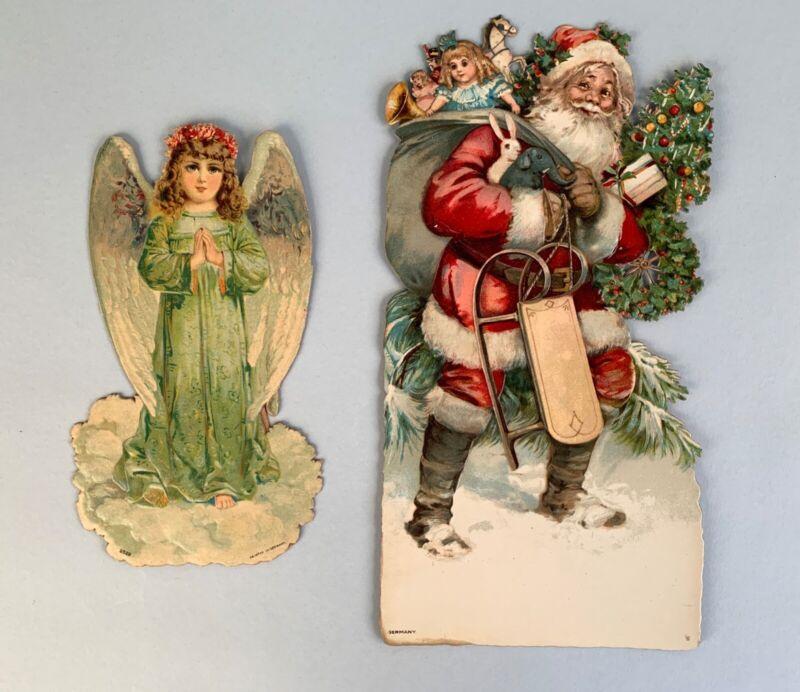 2 Early Embossed German Litho Christmas Die-Cuts: Brundage Santa & Angel