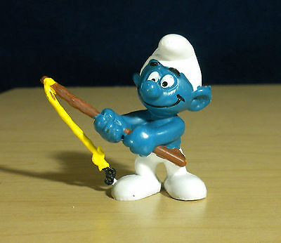 Smurfs Fisherman Angler Smurf Fishing Pole Vintage Figure PVC Toy Figurine 20101