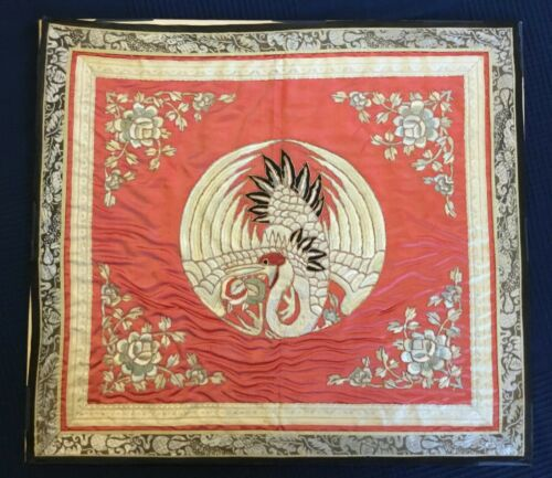 Antique 19th century Chinese Silk embroidery Crane / roses [AH289]