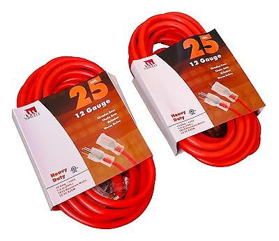 25-Ft Extension Cord 12 Gauge Lit End AWG Heavy Duty UL NEW 12//3 25 Foot Feet