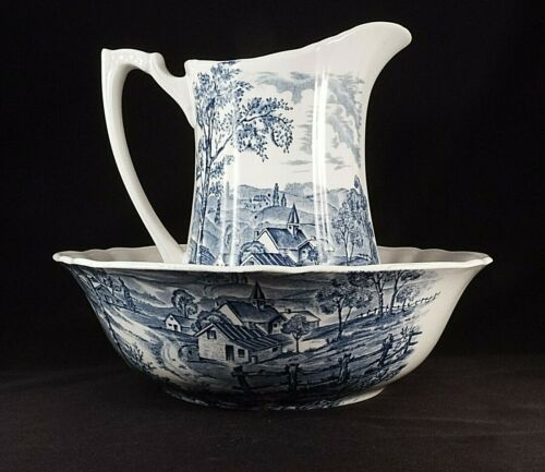 Alfred Meakin Staffordshire England Blue Transferware Reverie Pitcher & Bowl