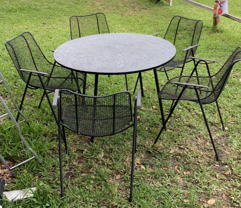 Russell Woodard Set 5 Sculptura Iron Mesh Patio Dining Chairs & Slate Top Table