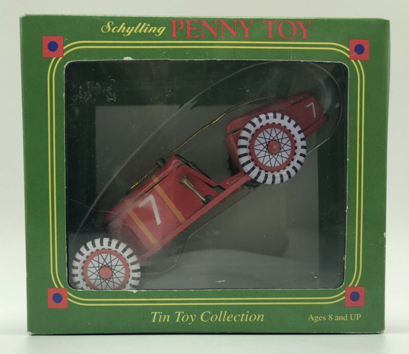 Schylling Penny Toy Tin Toy Red Race Car Ornament 1998 2003
