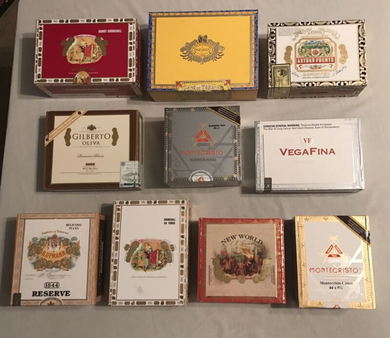 Lot of 10 - DECORATIVE PAPER & WOODEN Cigar Boxes **NICE VARIETY***JULY SALE***