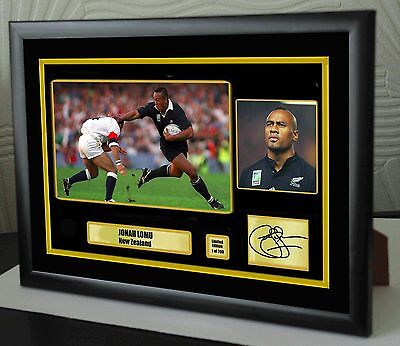 """Jonah Lomu All Black Rugby Union Framed Canvas Tribute Print Signed """"Great Gift"""""""