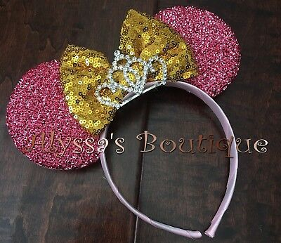 Minnie Mouse Tiara Pink Ears With Gold Sparkly Bow Headband Cute Shiny Sequin Gold Sequin Tiara