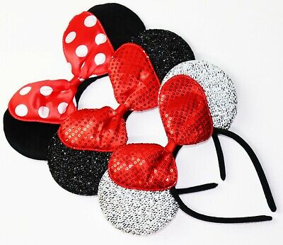 3 Minnie Mouse  Red Silver Bow-Mickey Mouse Ears Headband Disney adult/kid](Minnie Mouse Mickey Mouse)