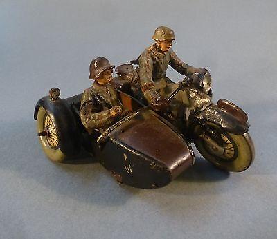 Motorrad mit Beiwagen Hausser Lineol Elastolin Figur Soldat Militär 2. WK um1938