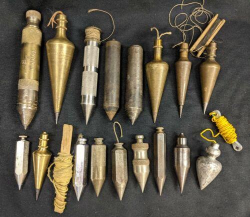 Vintage Large Lot 17 Plumb Bobs Brass Iron Steel Lead Antique Unusual