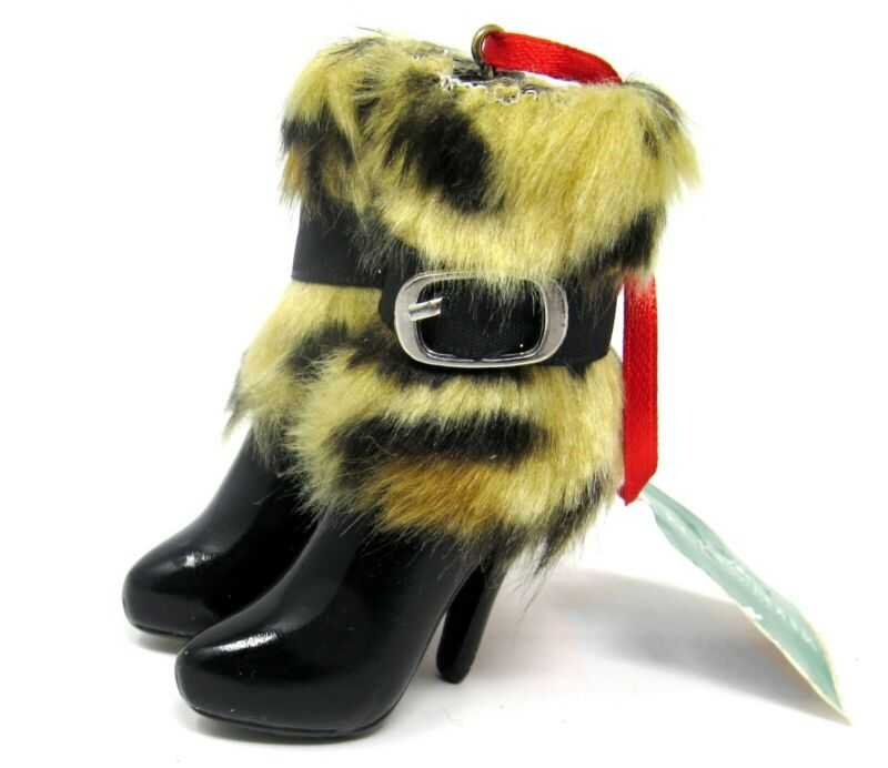 "Kurt S. Adler Shoe Christmas Ornament Black Boots with Leopard Fur Cuffs 3"""