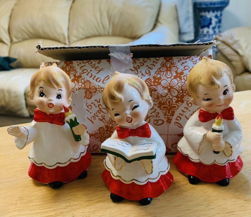 Vintage Josef Original Christmas Choir Boys Figurines ~ Set Of 3 In Box