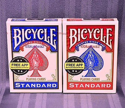 BICYCLE PLAYING CARDS 6 SIX Decks 3 BLUE 3 RED Standard 808 Index Poker Games](Playing Cards Games)