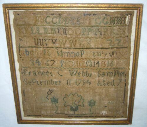ANTIQUE 18TH CENTURY STITCHED EMBROIDERY FRANCES C WEBB AGE 9 ALPHABET SAMPLER