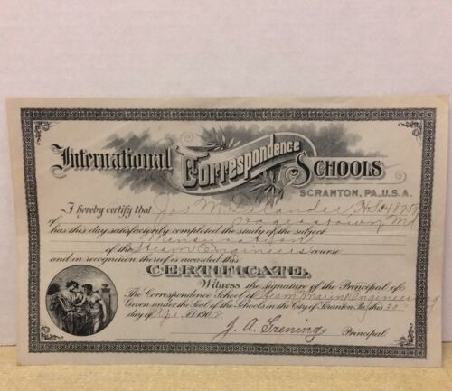 Antique 1902 ICS International Correspondence School Steam Engineers Diploma