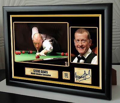 "Steve Davis World Champion Snooker Framed Canvas Print Signed.""Great Gift"""