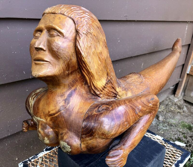 Antique Carved Folk Art Mermaid, Maritime Ships Mascot, 1930-40, Signed