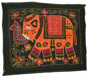 Elephant Wall Hanging Indian Hippy Ethnic Sequin Tapestry Embroidered 34