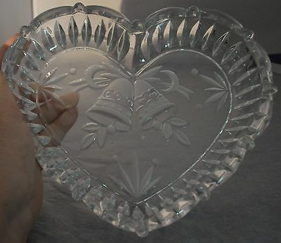 """Elegant Glass Heart Shaped Engraved w/Frosted Bells Trinket Candy Dish Bowl 9"""""""