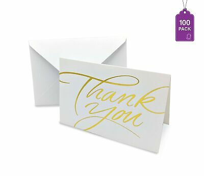Thank You Cards- Pack of 100 With Envelopes, Gold Hot Stamped Greeting - 100 Thank You Cards